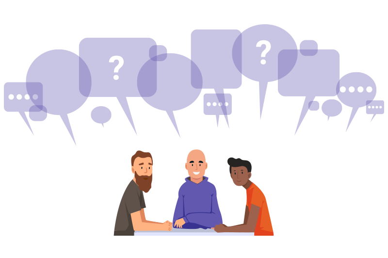 Kuvitus jossa kolme miestä ovat yhdessä saman pöydän ääressä ja yläpuolella on monta puhekuplaa.
